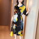 Dress Summer 2021 black S M L XL 2XL 3XL 4XL Mid length dress singleton  three quarter sleeve commute V-neck Loose waist Decor Socket Others 30-34 years old Kevenor K-LYQ1351. More than 95% silk Silk 95% polyurethane elastic fiber (spandex) 5%