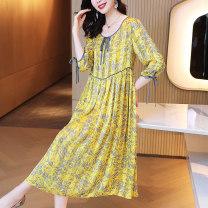 Dress Summer 2021 yellow S M L XL 2XL 3XL 4XL longuette singleton  elbow sleeve commute Crew neck Loose waist Decor Socket A-line skirt routine Others 30-34 years old Kevenor Bandage printing More than 95% polyester fiber Polyester 100%