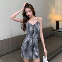 Dress Summer 2021 Picture color S,M,L,XL Short skirt singleton  commute High waist lattice zipper camisole 18-24 years old Korean version Open back, zipper