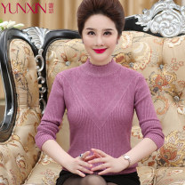 Middle aged and old women's wear Autumn of 2018 XL XXL XXXL Intellectuality Knitwear / cardigan easy singleton  other 40-49 years old Socket thick High collar routine other Yunxin other Other 100% 96% and above Pure e-commerce (online only) other