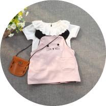 Dress Pink (suit), light blue (suit) female Other / other 80cm,85cm,95cm,100cm Colored cotton summer Korean version Skirt / vest Solid color Artificial colored cotton A-line skirt 12 months, 6 months, 9 months, 18 months, 2 years old, 3 years old, 4 years old, 5 years old