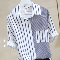 shirt routine Button cotton 51% (inclusive) - 70% (inclusive) Regular payment Summer 2021 Long sleeve commute Polo collar 18-24 years old stripe Single row multi button Straight tube S. M, l, XL, 2XL, RMB 23 from 500 pieces blue