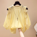 shirt routine Splicing pure cotton polyester fiber 51% (inclusive) - 70% (inclusive) Summer 2021 Long sleeve commute Regular payment Crew neck Solid color Condom 25-29 years old Korean version S. M, l, XL, 2XL, RMB 23 from 500 pieces Yellow, white, orange
