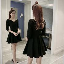 Dress Autumn 2020 Black, transparent shoulder strap for collection S,M,L,XL,2XL