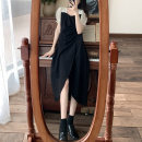 Dress Summer 2021 Black [French girl] longuette singleton  Short sleeve commute square neck High waist Solid color Socket Irregular skirt puff sleeve Others Type A Other / other Retro Splicing 91% (inclusive) - 95% (inclusive) other other