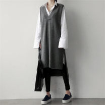 sweater Winter 2020 M [85-100 Jin], l [100-120 Jin], XL [120-140 Jin], 2XL [140-160 Jin], 3XL [160-180 Jin], 4XL [180-200 Jin] Gray, black Sleeveless Socket singleton  Medium length other 71% (inclusive) - 80% (inclusive) V-neck commute routine Solid color Straight cylinder cotton