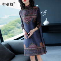 Dress Autumn 2020 Tibetan blue One size fits all (100-160 kg) Middle-skirt singleton  three quarter sleeve commute High collar Loose waist Decor Socket Big swing routine Others 35-39 years old Boumara Ol style printing BML63E2546 More than 95% other polyester fiber Polyester 100%