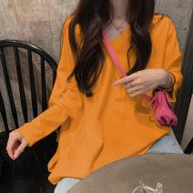 T-shirt M L XL XXL Autumn 2020 Long sleeves Crew neck easy Medium length routine commute polyester fiber 86% (inclusive) -95% (inclusive) 18-24 years old Korean version youth Solid color Sarhman / Satman Polyester 95% polyurethane elastic fiber (spandex) 5% Pure e-commerce (online only)