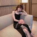 Dress Spring 2021 Black long suspender skirt, black short suspender skirt, apricot lace shirt S,M,L,XL Mid length dress singleton  Sleeveless commute other High waist Solid color Socket other routine camisole Type A Korean version