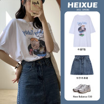 Women's large Spring 2021 white Average size (90-150 kg) commute easy Short sleeve Cartoon animation Korean version Crew neck routine cotton routine c001 Black Snow 18-24 years old 96% and above Cotton 100% Pure e-commerce (online only)