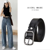 Belt / belt / chain Double skin leather Earthy yellow (black buckle) white (black buckle) red (black buckle) coffee (black buckle) black (black buckle) female belt Versatile Single loop Middle aged youth Pin buckle letter Glossy surface 2.8cm alloy alone Jmenyo / gemanya J-19888 Summer of 2019