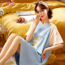 Nightdress Other / other Picture color 160(M),165(L),170(XL),175(XXL) Sweet Short sleeve Leisure home Middle-skirt summer Cartoon animation youth Crew neck cotton printing More than 95% pure cotton 200g and below