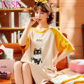 Nightdress Other / other Picture color 160(M),165(L),170(XL),175(XXL) Sweet Short sleeve Middle-skirt summer other Crew neck cotton More than 95% Knitted cotton fabric