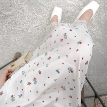 skirt Summer 2021 S,M,L white Mid length dress commute High waist A-line skirt Broken flowers Type A 25-29 years old 2-2 simple white floral skirt polyester fiber printing Korean version