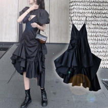Dress Spring 2021 S,M,L longuette Two piece set Short sleeve commute V-neck High waist Solid color other Irregular skirt puff sleeve camisole 25-29 years old Type A Other / other 30% and below