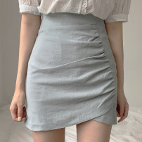 skirt Summer of 2019 XS,S,M,L Green, off white, black, light pink, orange, green autumn winter, off white autumn winter, black autumn winter, this white autumn winter Short skirt commute High waist skirt Solid color Type H 18-24 years old yxgg000125 71% (inclusive) - 80% (inclusive) brocade cotton