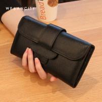 wallet Long Wallet cowhide WE&ANCITY Elegant grey Pink Black Orange brand new Europe and America female Buckles Solid color 80% off Horizontal style