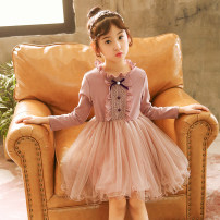 Dress Bow Skirt Pink Purple, bow skirt green, bow Skirt Pink Purple Plush, bow skirt Green Plush female Xiaoqi Meishang Other 100% spring and autumn Korean version Long sleeves Solid color cotton A-line skirt Class B Three, four, five, six, seven, eight, nine, ten, eleven, twelve, thirteen