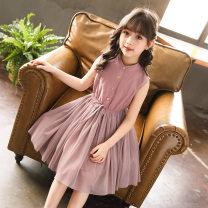 Dress Blue, pink female Xiaoqi Meishang 110 (recommended height of 1m), 120 (recommended height of 1m), 130 (recommended height of 1m), 140 (recommended height of 1m), 150 (recommended height of 1m), 160 (recommended height of 1m) Cotton 80% other 20% summer Korean version Skirt / vest Solid color