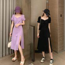 Women's large Summer 2020 Purple, black Average size [recommended 80-120 kg], l [recommended 100-120 kg], XL [recommended 120-140 kg], 2XL [recommended 140-160 kg], 3XL [recommended 160-180 kg], 4XL [recommended 180-200 kg] Dress commute Korean version 18-24 years old