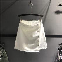 skirt Summer 2021 S,M,L,XL White, black Short skirt Versatile High waist A-line skirt Solid color Type A 71% (inclusive) - 80% (inclusive) Denim cotton Asymmetry, button