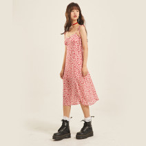 Dress Spring 2021 Pink Daisy S,M,L Middle-skirt singleton  Sleeveless commute square neck High waist Broken flowers zipper A-line skirt other camisole 18-24 years old Type A Egg laying meow Retro 81% (inclusive) - 90% (inclusive) Chiffon polyester fiber