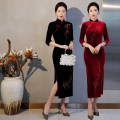cheongsam Autumn 2020 XXL,XXXL,M,L,XL,4XL,5XL Black, dark red three quarter sleeve long cheongsam Retro Low slit daily Oblique lapel Solid color Over 35 years old Order drill LD2051 other 96% and above