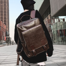 Backpack PU Wuge family Black, brown brand new large zipper campus Double root Street trend soft youth yes Soft handle Solid color Yes neutral Water splashing prevention Vertical square polyester fiber Sewing no 15 inches Three dimensional bag soft surface