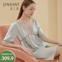 Nightdress Golden tower Pale celadon rose color 160(M) 165(L) 170(XL) sexy Short sleeve pajamas Middle-skirt spring Solid color youth V-neck silk Mosaic decoration More than 95% YSFBA323 Spring 2021 Mulberry silk 100% Same model in shopping mall (sold online and offline)
