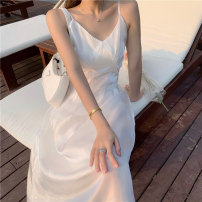 Dress Summer 2021 Moonlight white S M L Mid length dress singleton  Sleeveless Sweet V-neck High waist Solid color Socket A-line skirt other camisole 18-24 years old Type A Princess Yong zipper 21015#YF More than 95% other other Other 100% solar system Pure e-commerce (online only)