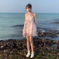 Dress Summer 2021 violet S M L Short skirt singleton  Sleeveless Sweet V-neck Loose waist Decor Socket A-line skirt other camisole 18-24 years old Type A Princess Yong Tie dyeing of Auricularia auricula More than 95% other other Other 100% Bohemia Pure e-commerce (online only)