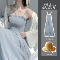 Dress Summer 2021 Blue dress pink dress apricot dress white sunscreen pink sunscreen apricot sunscreen S M L XL Mid length dress singleton  Sleeveless Sweet One word collar High waist Solid color Socket Big swing camisole 18-24 years old Type A Princess Yong fold 7082 in stock More than 95% Chiffon
