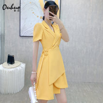 Dress Summer 2021 Yellow black white S M L XL Middle-skirt singleton  Short sleeve commute tailored collar High waist Solid color double-breasted Irregular skirt puff sleeve Others 25-29 years old Type A European puzzle Korean version Lace up button OHDRE03120 More than 95% other other Other 100%