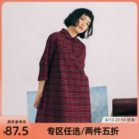 Dress Spring of 2018 Hongge (in stock) S M L Mid length dress singleton  Long sleeves commute Polo collar High waist lattice Socket other shirt sleeve Others 18-24 years old Type A omont Retro 1B0317L12BC More than 95% cotton Cotton 100%