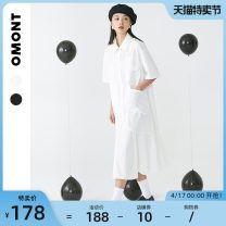 Dress Summer 2021 White (pre-sale on April 22) black (pre-sale on April 27) white (pre-sale) black (pre-sale) S M L longuette singleton  Short sleeve commute Polo collar Loose waist Solid color Single breasted A-line skirt shirt sleeve Others 18-24 years old Type A omont Retro Pocket button cotton