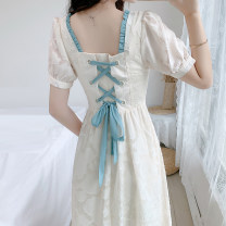 Dress Summer 2021 Apricot S,M,L,XL Mid length dress singleton  Short sleeve commute square neck High waist Solid color Socket A-line skirt puff sleeve Others 18-24 years old Type A Retro Ruffle, zipper, lace up 51% (inclusive) - 70% (inclusive) Chiffon