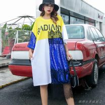 Dress Summer 2020 White, black Average size Mid length dress singleton  Short sleeve street Crew neck Loose waist Cartoon animation Socket A-line skirt routine Type A Lace, mesh, stitching, printing 51% (inclusive) - 70% (inclusive) cotton Europe and America
