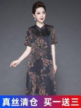 Dress Spring 2021 L,XL,2XL,3XL,4XL,5XL Mid length dress singleton  Short sleeve commute V-neck Loose waist Solid color Socket A-line skirt routine Others Type A Korean version zipper 71% (inclusive) - 80% (inclusive) Silk and satin silk