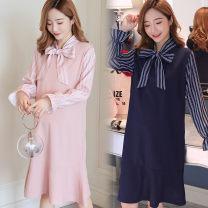 Dress Other / other Pink, dark blue M,L,XL,XXL Korean version Long sleeves Medium length autumn stand collar other nylon