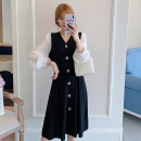 Nursing clothes L,XL,2XL,3XL,4XL,5XL Other / other Front buckle Spring autumn winter Long sleeves Medium length Korean version Dress Solid color Colored cotton