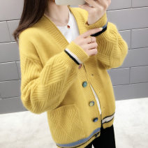Wool knitwear Spring of 2019 S M L XL Khaki blue white black red yellow Long sleeves singleton  Cardigan other More than 95% Regular routine commute easy V-neck routine Color matching Single breasted Korean version BXL9157L Bei Xueli Pocket button Other 100% Exclusive payment of tmall