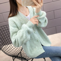 Wool knitwear Autumn of 2019 S M L XL Yellow pink light grey light green blue green Long sleeves singleton  Cardigan other More than 95% Regular routine commute easy V-neck routine Solid color Single breasted Korean version AG3760 Bei Xueli Jacquard button Other 100% Pure e-commerce (online only)