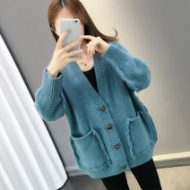 Wool knitwear Autumn of 2019 S M L XL Long sleeves singleton  Cardigan other More than 95% Regular routine commute easy V-neck routine Solid color Single breasted Korean version Bei Xueli Tassel pocket stitching buttons Other 100% Exclusive payment of tmall