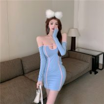 Dress Summer 2021 Blue, yellow Average size Short skirt singleton  Long sleeves commute One word collar High waist Socket One pace skirt routine camisole 18-24 years old Type H Korean version backless other
