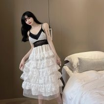 Dress Summer 2021 White, black S,M,L Mid length dress singleton  Long sleeves commute V-neck High waist zipper Cake skirt camisole 18-24 years old Type A Korean version Hollowed out, stitched, open back, zipper