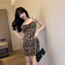 Dress Summer 2021 Leopard Print S,M,L,XL Short skirt singleton  Sleeveless commute V-neck High waist Leopard Print zipper Pencil skirt camisole 18-24 years old Type H Korean version 31% (inclusive) - 50% (inclusive) brocade polyester fiber