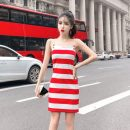Dress Summer 2020 Red, black S,M,L Short skirt singleton  Sleeveless commute One word collar High waist stripe zipper One pace skirt other camisole 18-24 years old Type H Korean version zipper other other