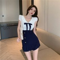 Dress Summer 2021 White and blue S,M,L,XL Short skirt Two piece set Short sleeve commute V-neck middle-waisted Solid color zipper A-line skirt puff sleeve Others 18-24 years old Type A Korean version Gauze