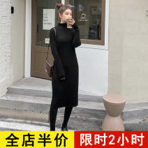 Dress Spring 2021 Black JH S M L XL 2XL 3XL 4XL Mid length dress singleton  Long sleeves Sweet Crew neck Solid color routine 18-24 years old Eileen 12-29C5357HS-XX 31% (inclusive) - 50% (inclusive) polyester fiber Polyester 42% viscose 40% polyamide 18% solar system Pure e-commerce (online only)