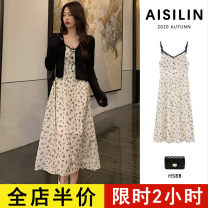 Dress Spring 2021 Single sling skirt single coat sling skirt + coat S M L XL 2XL 3XL 4XL longuette Two piece set Sleeveless commute other High waist Broken flowers A-line skirt routine 18-24 years old Eileen Korean version Lace printing D8-7AYG874-A-3 More than 95% polyester fiber Polyester 100%